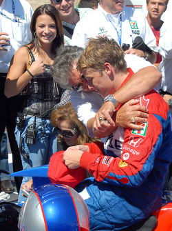 Mario Andretti greets Marco in Victory lane