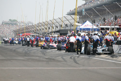 Cars on pit lane
