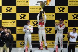 Podium: Bruno Spengler, Team HWA AMG Mercedes, AMG Mercedes C-Klasse, Mike Rockenfeller, Audi Sport Team Abt Sportsline Audi A4 DTM, Martin Tomczyk, Audi Sport Team Phoenix Audi A4 DTM