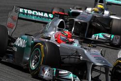 Michael Schumacher, Mercedes GP Petronas F1 Team leads Nico Rosberg, Mercedes GP Petronas F1 Team