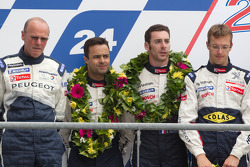 LM P1 podium: second place Sébastien Bourdais, Simon Pagenaud and Pedro Lamy with Olivier Quesnel