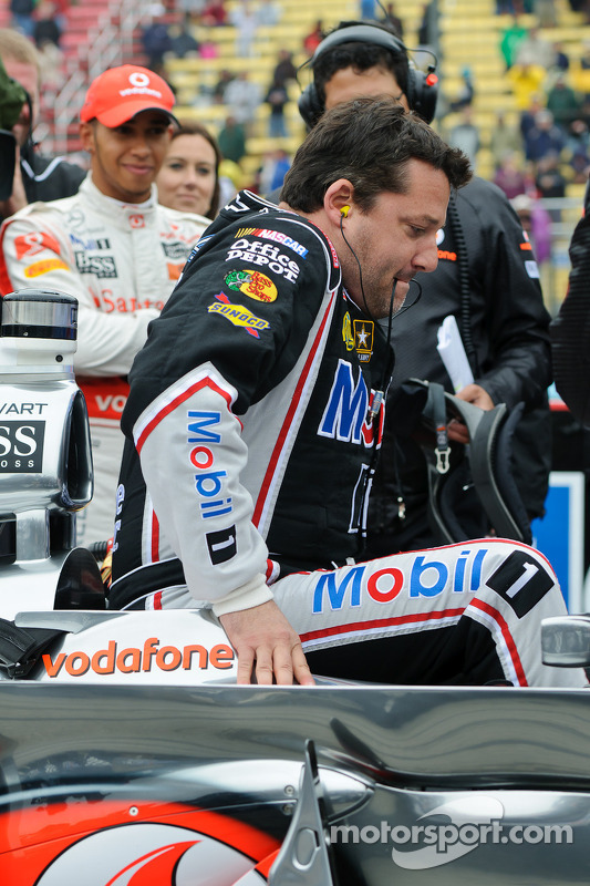 Tony Stewart gets into Lewis Hamilton's McLaren