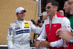 Third place Bruno Spengler, Team HWA AMG Mercedes celebrates with Hans-Jürgen Abt