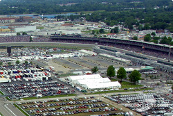 Aerial view of Indianapolis Motor Speeway: Gasoline Alley and turn 1