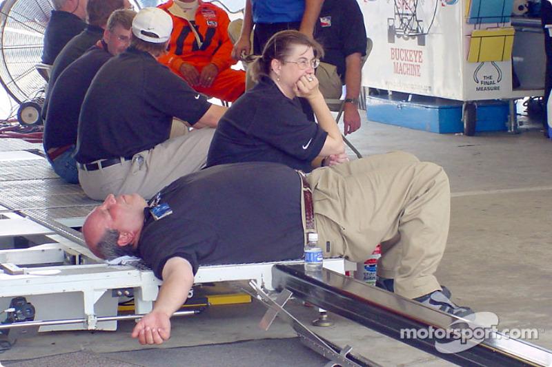 Taking a break in the garage
