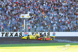 Checkered flag: Sam Hornish Jr., Scott Sharp and Robbie Buhl