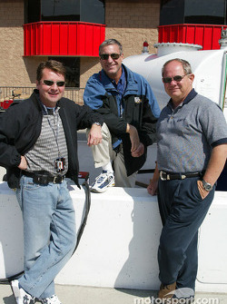 IRL sports commentator Scott Goodyear, Bob Jenkins and Paul Page