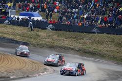 Timmy Hansen, Team Peugeot Hansen; Sébastien Loeb, Team Peugeot Hansen; Petter Solberg, Petter Solberg World RX Team