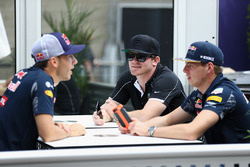 Max Verstappen, Red Bull Racing talks with IndyCar driver Conor Daly and Pierre Gasly, Red Bull Racing