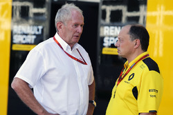(L to R): Dr Helmut Marko, Red Bull Motorsport Consultant with Frederic Vasseur, Renault Sport F1 Team Racing Director