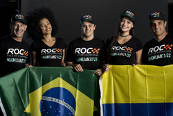 Tony Kanaan, Felipe Massa, Juan Pablo Montoya with the ROC girls