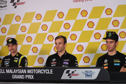 Thomas Lüthi, Garage Plus Interwetten; Johann Zarco, Ajo Motorsport; Alex Rins, Paginas Amarillas HP 40