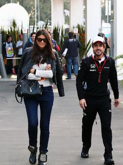 Fernando Alonso, McLaren with his girlfriend Linda Morselli
