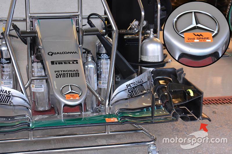 Le nez de la Mercedes AMG F1 W07 Hybrid