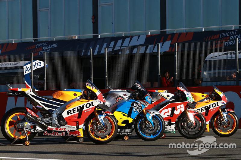 Bikes of Marc Marquez, Repsol Honda Team, Jack Miller, Estrella Galicia 0,0 Marc VDS, Cal Crutchlow, Team LCR Honda, Dani Pedrosa, Repsol Honda Team