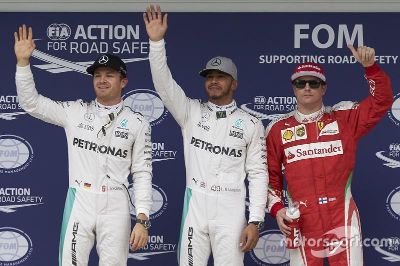Polesitter Lewis Hamilton, 2. Nico Rosberg, 3. Kimi Räikkönen