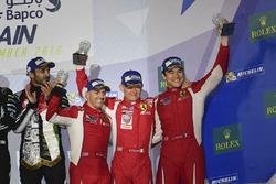 Podium LMGTE Am : troisième place #83 AF Corse Ferrari 458 Italia: Francois Perrodo, Emmanuel Collard, Rui Aguas