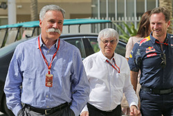 Chase Carey, Président du Formula One Group avec Bernie Ecclestone et Christian Horner, Team Principal Red Bull Racing