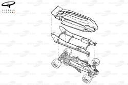 Lotus 88 1981 года: эскиз двойного шасси в разобранном виде