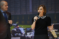 Claire Williams, Williams Deputy Team Principal talks to Stuart Codling on the F1 Racing stand