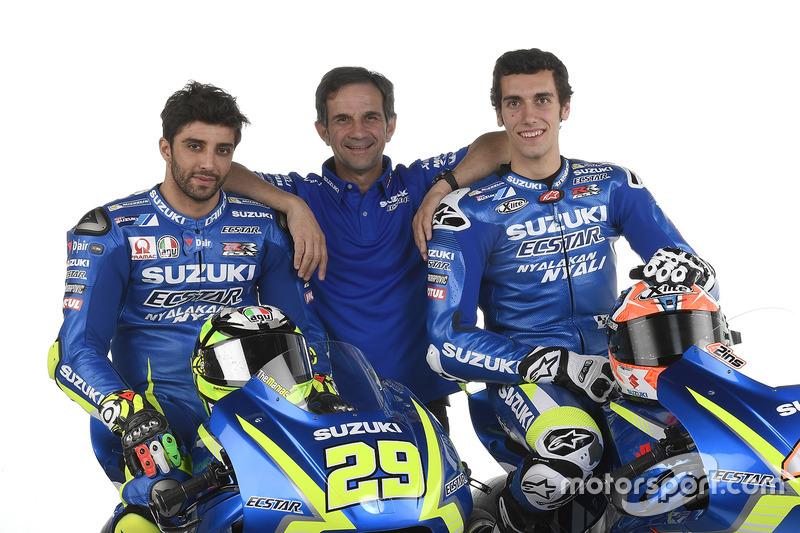 Andrea Iannone, Alex Rins en Davide Brivio, Team Manager, Team Suzuki Ecstar MotoGP