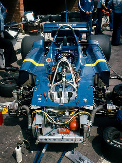 The six wheeled Tyrrell P34-Ford chassis in the paddock