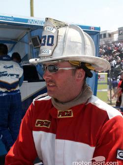 Fireman on pit lane