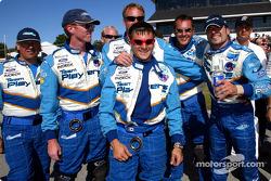 Alex Tagliani celebrating second place finish with his crew