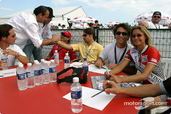 Members of the jury Bruno Junqueira with Miss Molson Indy 2003 winner Lynne Kushnirenko