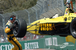 A.J. Allmendinger's car heads back to the garage
