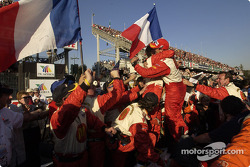 Race winner and 2004 Champ Car World Series champion Sébastien Bourdais celebrates