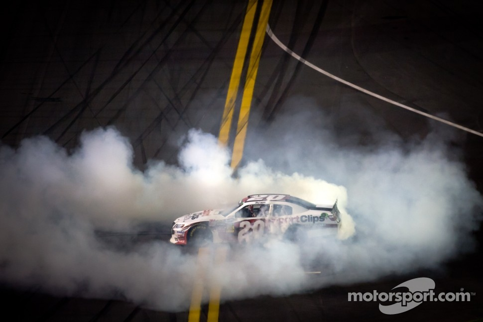 Race winner Joey Logano, Joe Gibbs Racing Toyota celebrates