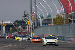Pace car leads the field during a full-course yellow