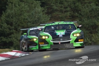 The two Jaguar XKR nose to tail at Mosport