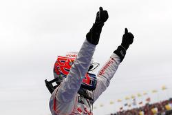 Race winner Jenson Button, McLaren Mercedes celebrates