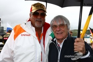 Vijay Mallya Force India F1 Team Owner with Bernie Ecclestone
