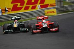 Jarno Trulli, Team Lotus and Timo Glock, Marussia Virgin Racing