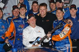 Victory lane: DP and overall winners Max Angelelli and Ricky Taylor celebrate with Wayne Taylore