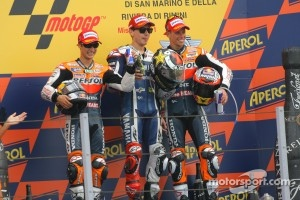 Dani Pedrosa, Repsol Honda Team, Jorge Lorenzo, Yahama Factory Racing and Casey Stoner, Repsol Honda Team