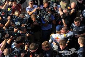 Sebastian Vettel, Red Bull Racing celebrates his win with the team