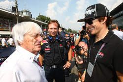 Bernie Ecclestone with Nicky Hayden, MotoGP rider and Christian Horner, Red Bull Racing, Sporting Director