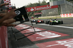 The team celebrate as Antonio Felix Da Costa takes victory in front of James Calado, Rio Haryanto and Nico Muller