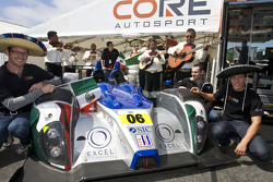 Celebration of Mexico's 201 years of independence with Luis Diaz and #05 Core Autosport Oreca FLM09: Jon Bennett, Frankie Montecalvo, Andy Wallace
