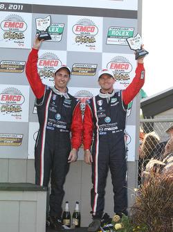 GT podium: third place Dane Cameron and James Gue