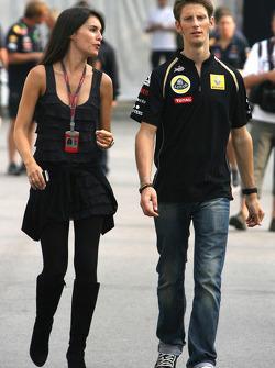 Romain Grosjean, Lotus Renault GP and his girlfriend Marion Joles