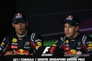 Pole winner Sebastian Vettel, Red Bull Racing, second place Mark Webber, Red Bull Racing