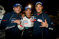 Race winners Franck Montagny, Stéphane Sarrazin and Alexander Wurz celebrate