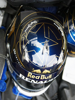 The helmet of Sebastian Vettel, Red Bull Racing, with a star for each of his world championships