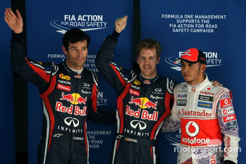 Mark Webber, Red Bull Racing, Sebastian Vettel, Red Bull Racing and Lewis Hamilton, McLaren Mercedes