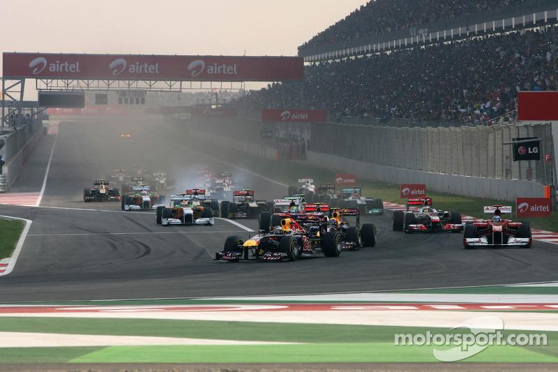 Start of the race, Sebastian Vettel, Red Bull Racing